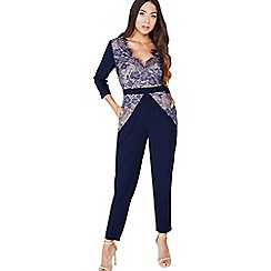 Little Mistress - Navy lace panel jumpsuit