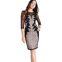 Little Mistress - Black and beige lace applique bodycon dress