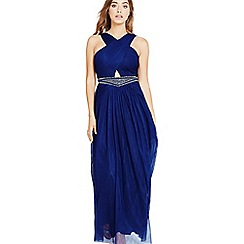 Little Mistress - Navy embellished waist maxi dress