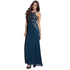 Little Mistress - Teal sequin embellished maxi dress
