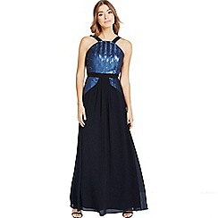 Little Mistress - Black and navy sequin maxi dress