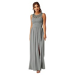 Little Mistress - Grey jewel neck maxi dress