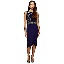 Girls On Film - Navy and silver embellished 2 in 1 dress