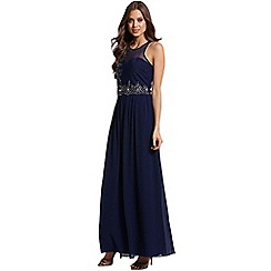 Little Mistress - Navy and silver embellished 2 in 1 maxi dress