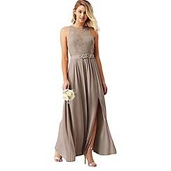 Little Mistress - Mink lace maxi dress with belt