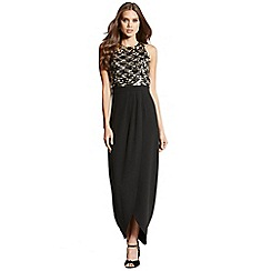 Little Mistress - Black and gold crossover maxi dress