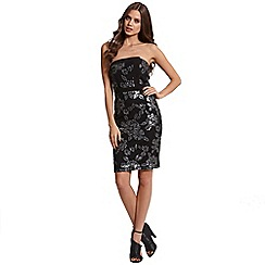 Girls On Film - Bandeau black and silver embellished dress