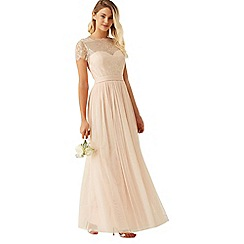 Little Mistress - Nude lace overlay maxi dress