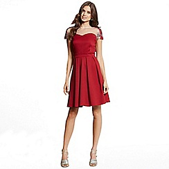 Little Mistress - Berry and silver embellised fit and flare dress