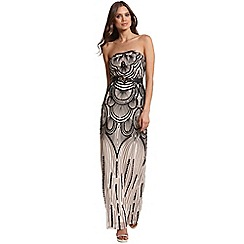 Little Mistress - Heavily embellished gold and black bandeau maxi dress