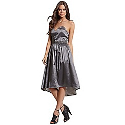 Little Mistress - Grey satin midi prom dress