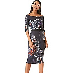 Little Mistress - Floral print bardot bodycon dress