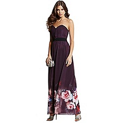 Little Mistress - Purple rose print bandeau maxi dress