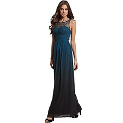 Little Mistress - Teal dip dye embellished neck maxi dress