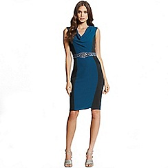 Little Mistress - Teal and black cowl neck bodycon dress