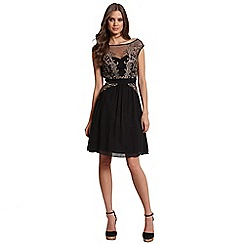 Little Mistress - Black and gold applique fit and flare dress