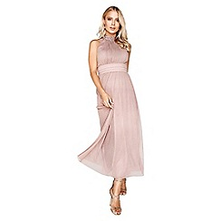 Little Mistress - Mink lurex maxi dress