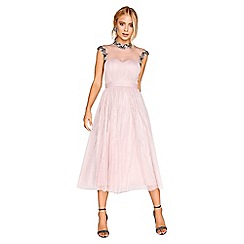 Little Mistress - Mink jewel mesh midi dress