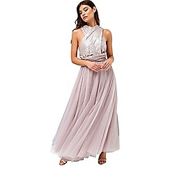 Little Mistress - Mink multiway maxi dress with sequin top