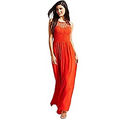 Little Mistress - Orange embellished detail maxi dress