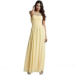 Little Mistress - Yellow embellished detail maxi dress