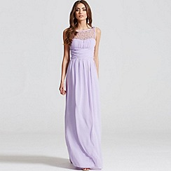 Little Mistress - Lilac embellished neck maxi dress