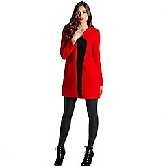 Little Mistress - Red contrast lapel wool coat