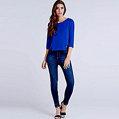 Girls On Film - Blue crepe cut-out back blouse