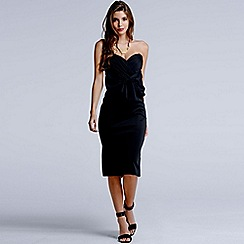 Girls On Film - Black wrap over bow front dress