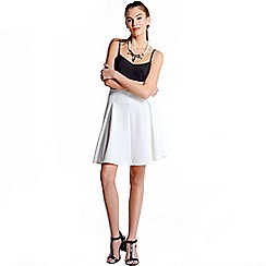 Girls On Film - White Textured Mini Skater Skirt