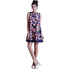 Girls On Film - Navy kaleidoscope floral shift dress