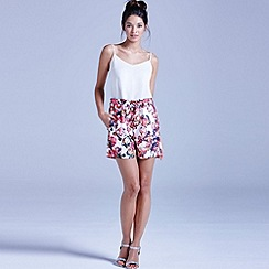 Girls On Film - White kaleidoscope floral shorts