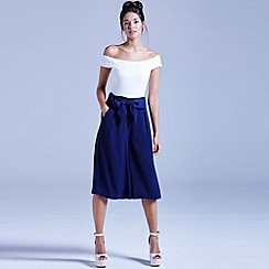 Girls On Film - Navy bow front culottes