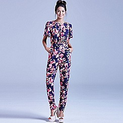 Girls On Film - Navy kaleidoscope floral jumpsuit