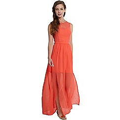 Girls On Film - Coral chiffon split skirt maxi dress