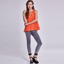 Girls On Film - Coral chiffon lace trim vest