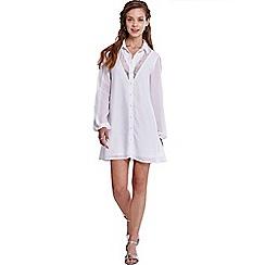 Girls On Film - Cream swing shirt dress