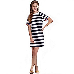 Girls On Film - Navy and white stripe floral trim tunic