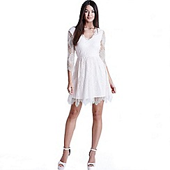 Girls On Film - Nude eyelash lace dress
