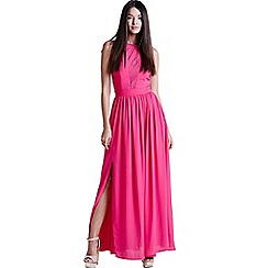 Girls On Film - Pink lace insert maxi dress