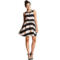 Girls On Film - Peach and black stripe skater dress