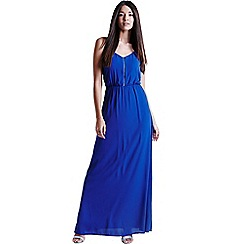 Girls On Film - Blue chiffon maxi dress