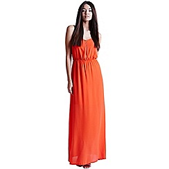 Girls On Film - Coral chiffon maxi dress