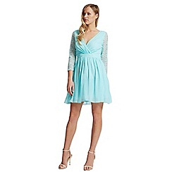 Laced In Love - Turquoise lace sleeve dress