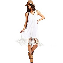 Girls On Film - White lace trim fringed dress