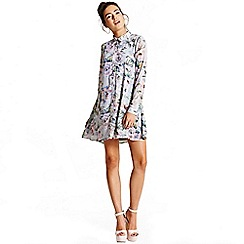 Girls On Film - Grey floral shirt dress