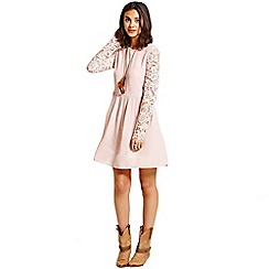 Girls On Film - Pink lace sleeve dress