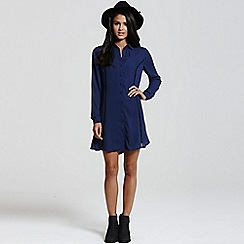 Girls On Film - Navy shirt dress