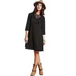 Girls On Film - Black fringe front dress
