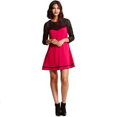 Girls On Film Berry a- line tunic dress with black lace